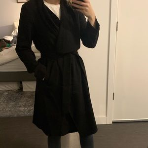 New Look Black Waterfall Trench or Robe